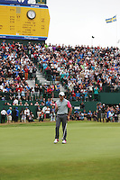 20.07.2014. Hoylake, England. Rory McIlroy of Northern Ireland celebrates on the 18th hole during the final round of the 143rd British Open Championship at Royal Liverpool Golf Club in Hoylake, England.