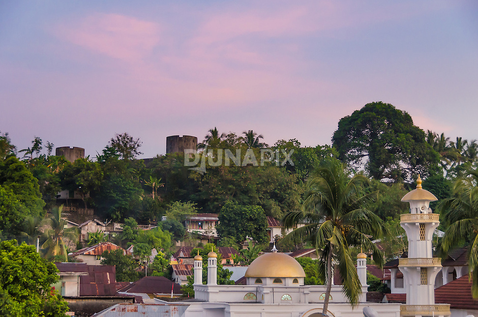 A mosque now fronts the Dutch colonial Fort Belgica on Banda Neira island.