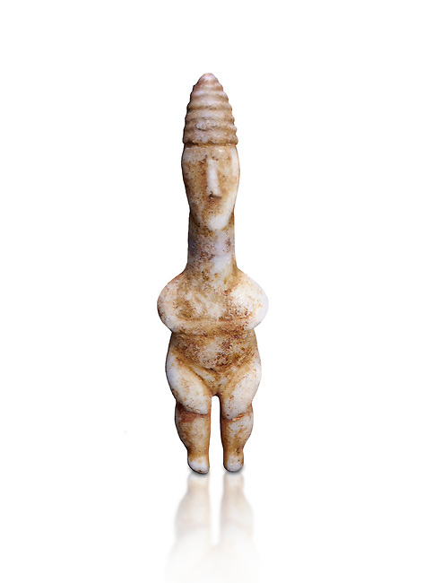 Marble ancient Greek Cycladic figurine wearing a conical pilos, early Plastiras type, Early Cycladic Period I, circal 2800 BC, Museum of Cycladic Art Athens, cat no 1111.  Against white.