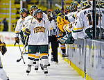 16 November 2008: University of Vermont Catamount forward and Team Captain Dean Strong, a Senior from Mississauga, Ontario, celebrates a goal against the Merrimack College Warriors at Gutterson Fieldhouse, in Burlington, Vermont. The Catamounts defeated the Warriors 2-1 in front of a near-capacity crowd of 3,813...Mandatory Photo Credit: Ed Wolfstein Photo