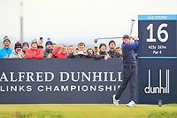 Rory McIlroy (NIR) on the 16th tee during Round 4 of the Alfred Dunhill Links Championship 2019 at St. Andrews Golf CLub, Fife, Scotland. 29/09/2019.<br /> Picture Thos Caffrey / Golffile.ie<br /> <br /> All photo usage must carry mandatory copyright credit (© Golffile | Thos Caffrey)