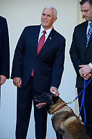 Vice President Mike Pence participates in an event introducing Conan, the United States Army dog that assisted in the raid that killed ISIS leader Abu Bakr al-Baghdadi, in the Rose Garden of the White House. Credit: Erin Scott / CNP/AdMedia