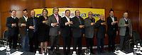 SAO PAULO, SP - 20.07.2016 - ELEI&Ccedil;OES-SP-2016 - O pr&eacute;-candidato &agrave; prefeitura de S&atilde;o Paulo, Jo&atilde;o D&oacute;ria (PSDB) acompanhado de La&eacute;rcio Lemos (PHD), Silvio Torres (PSDB), Ciro Moura (PTC), Denise Abreu (PMB), Faria Lima, (PSDB), Carlos Fernandes (PPS) e Ronaldo Martins (PRP) na tarde desta quarta-feira (20) no World Trade Center (WTC) na zona sul de S&atilde;o Paulo. Durante o evento o partido PTC anuncia o apoio &agrave; candidatura de D&oacute;ra para prefeito de S&atilde;o Paulo.<br /> <br /> (Foto: Fabricio Bomjardim / Brazil Photo Press)