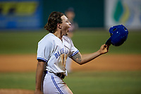 Dunedin Blue Jays Ryan Noda (19) celebrates after hitting a walk off grand slam home run in the bottom of the ninth inning during a Florida State League game against the Jupiter Hammerheads on May 15, 2019 at Jack Russell Memorial Stadium in Clearwater, Florida.  Dunedin defeated Jupiter 8-4 in nine innings, the second game of a doubleheader.  (Mike Janes/Four Seam Images)