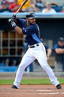 Tampa Bay Rays first baseman Sean Rodriguez #1 during a Grapefruit League Spring Training game against the Boston Red Sox at Charlotte County Sports Park on February 25, 2013 in Port Charlotte, Florida.  Tampa Bay defeated Boston 6-3.  (Mike Janes/Four Seam Images)