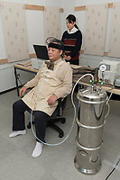 Yoshifumi Miyazaki, shinrin-yoku (forest bathing) author and researcher, testing equipment to measure the effect of odours on brain activity. Chiba University, Kashiwa, Chiba, Japan, March 1, 2018. Yoshifumi Miyazaki is author of Shinrin-yoku: The Japanese Way of Forest Bathing for Health and Relaxation