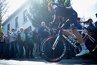 Larry Warbasse (USA/IAM) up the infamous Mur de Huy (1300m/9.8%)<br /> <br /> 79th Fl&egrave;che Wallonne 2015