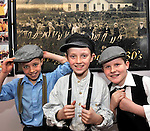 Cian Murphy, Peter O'Sullivan and Thomas Healy dressed in period costume pictured enjoying Lissivigeen School's 150 years celebration on Thursday. All the pupils attended class in period costume in one of Kerry's oldest schools about three miles from Killarney..Picture by Don MacMonagle
