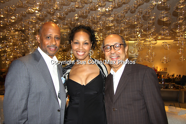 Ruben Santiago-Hudson (All My Children, Another World & As The World Turns), Kim Brockington (Guiding Light) & George C. Wolfe (honoree Tony nominee for co-directing The Normal Heart) - The Innaugural Celebration of Color on Broadway Awards were held on June 8, 2011 at SAKS Fifth Avenue, New York City, New York. The event was held upstairs where beautiful shoes are sold and where a part of the sales this night will benefit OPUS 118 Harlem's School of Music. (Photo by Sue Coflin/Max Photos)