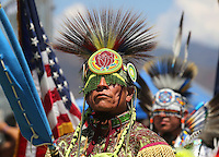 August, 24, 2013. Pala, CA, 2013.|Sam Bearpaw of the New Mexico's Apache Nation of Warm Springs and White Montains leds the march during the  Pala Powwow Saturday  The Pala Band of Mission Indians hosts its sixth annual powwow with tribal dancing, drumming, artisan booths, food, grand entry, tribal games and more; 5 to 10 p.m. Friday; noon to 10 p.m. Saturday; noon to 6 p.m. Sunday; Pala Rey Youth Campground, Pala; free |Photos Jamie Scott Lytle, copyright