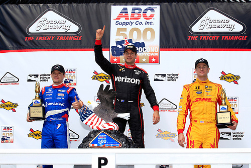 20-21 August, 2016, Long Pond, Pennsylvania USA<br /> Will Power, Mikhail Aleshin, Ryan Hunter-Reay celebrate on the podium<br /> ©2016, Phillip Abbott<br /> LAT Photo USA