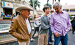 HALLANDALE BEACH, FL - JANUARY 25: Trainer Steven Asmussen (right) watches with his father Keith and son Erik as Gun Runner schools in the paddock in between races as horses prepare for the Pegasus World Cup Invitational at Gulfstream Park Race Track on January 25, 2018 in Hallandale Beach, Florida. (Photo by Scott Serio/Eclipse Sportswire/Breeders Cup)