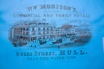 Old litho print poster for Morison's hotel, Queen Street, Hull, Yorkshire, England