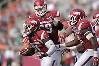 NWA Democrat-Gazette/BEN GOFF @NWABENGOFF<br /> Mitchell Loewen (89), Arkansas defensive tackle, congratulates middle linebacker Josh Williams after Williams recovered an Arkansas punt on Saturday Sept. 5, 2015 during the fourth quarter of the Arkansas vs UTEP game at Razorback Stadium in Fayetteville.