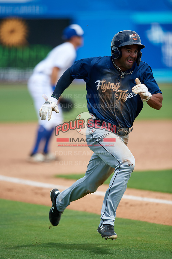 Lakeland Flying Tigers left fielder Derek Hill (18) rounds third base during a game against the Dunedin Blue Jays on May 27, 2018 at Dunedin Stadium in Dunedin, Florida.  Lakeland defeated Dunedin 2-1.  (Mike Janes/Four Seam Images)
