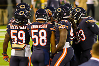Chicago Bears players huddle during a National Football League game against the Green Bay Packers on September 28, 2017 at Lambeau Field in Green Bay, Wisconsin. Green Bay defeated Chicago 35-14. (Brad Krause/Krause Sports Photography)