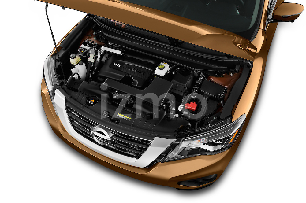 Car Stock 2018 Nissan Pathfinder Platinum 5 Door SUV Engine  high angle detail view