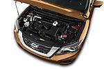 Car Stock 2018 Nissan Pathfinder Platinum 5 Door SUV Engine  high angle detail view