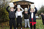 School visit to Welsh Water Education Center.<br /> Cameron Withey, Sadie Jones, Garan Hopkins &amp; Libby Woolford pupils from Trealaw primary School learning about water collection in a African Village.<br /> 17.11.14<br /> &copy;Steve Pope-FOTOWALES