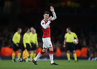 Arsenal's Laurent Koscielny waves to the Arsenal fans at the end of the game<br /> <br /> Photographer Rob Newell/CameraSport<br /> <br /> UEFA Europa League Quarter-Final First Leg - Arsenal v CSKA Moscow - Thursday 5th April 2018 - The Emirates - London<br />  <br /> World Copyright &copy; 2018 CameraSport. All rights reserved. 43 Linden Ave. Countesthorpe. Leicester. England. LE8 5PG - Tel: +44 (0) 116 277 4147 - admin@camerasport.com - www.camerasport.com