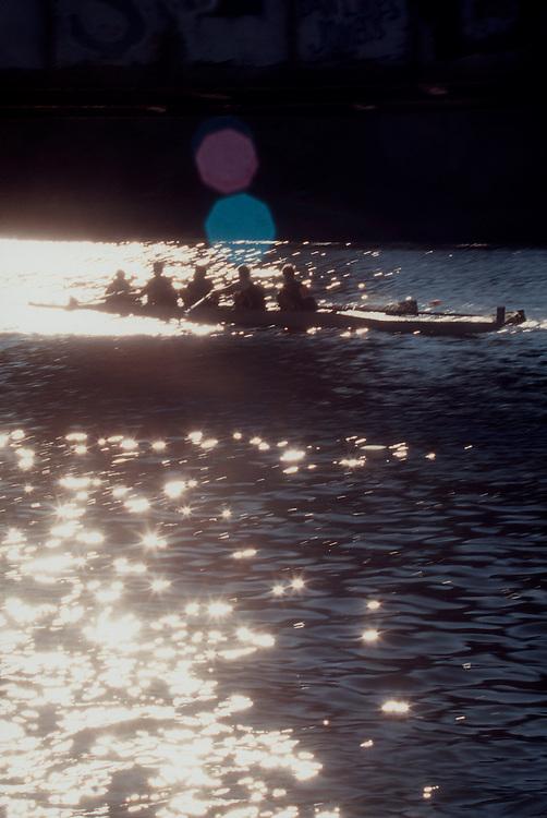 Rowing, Head of the Charles Regatta, Cambridge; Massachusetts; Charles River; Boston, New England, USA, four oared racing shells,.