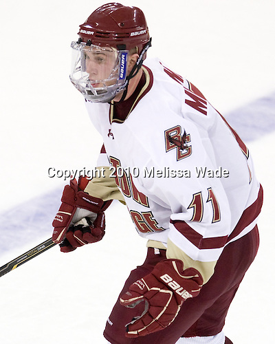 Pat Mullane (BC - 11) - The Boston College Eagles defeated the visiting Merrimack College Warriors 3-2 on Friday, October 29, 2010, at Conte Forum in Chestnut Hill, Massachusetts.