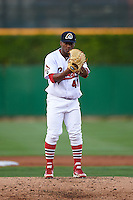 Peoria Chiefs pitcher Dewin Perez (41) gets ready to deliver a pitch during a game against the Wisconsin Timber Rattlers on August 21, 2015 at Dozer Park in Peoria, Illinois.  Wisconsin defeated Peoria 2-1.  (Mike Janes/Four Seam Images)