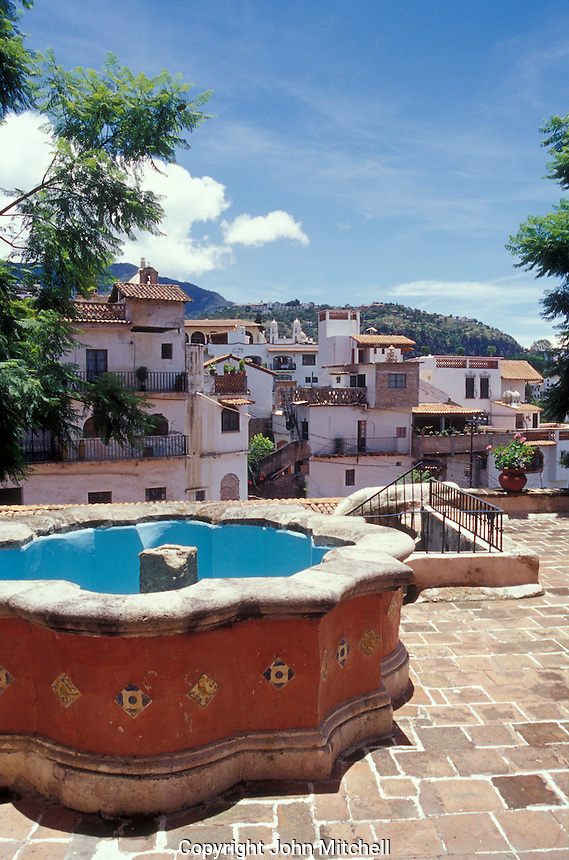 View from a courtyard in the Casa Humboldt in Taxco, Guerrero, Mexico. This restored 18th century Moorish style building is named after German explorer and naturalist Alexander Von Humboldt. It now houses the Museum of Viceregal Art or Museo de Arte Virreinal.