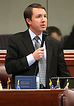 Nevada Assemblyman David Bobzien, D-Reno, speaks on the Assembly floor Monday, April 25, 2011, at the Legislature in Carson City, Nev. .Photo by Cathleen Allison