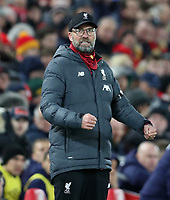 24th February 2020; Anfield, Liverpool, Merseyside, England; English Premier League Football, Liverpool versus West Ham United; Liverpool manager Jurgen Klopp reacts with clenched fists