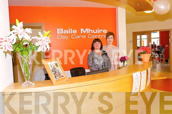 Denise Leahy and Norma Harrington welcoming visitors to the  Baile Mhuire Family Day on Saturday