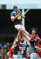 James Horwill of Harlequins wins the ball at a lineout. Aviva Premiership match, between Harlequins and Saracens on September 24, 2016 at the Twickenham Stoop in London, England. Photo by: Patrick Khachfe / JMP