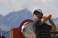 Gregory Bourdy (FRA) on the 18th on the 1st day of the Omega European Masters, Crans-Sur-Sierre, Crans Montana, Switzerland..Picture: Golffile/Fran Caffrey..