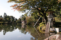The two-legged lantern, Kotoji Toro, on Kasumigaike Pond in Kenrokuen Gardens in Kanazawa, Japan. Wednesday October 15th 2008
