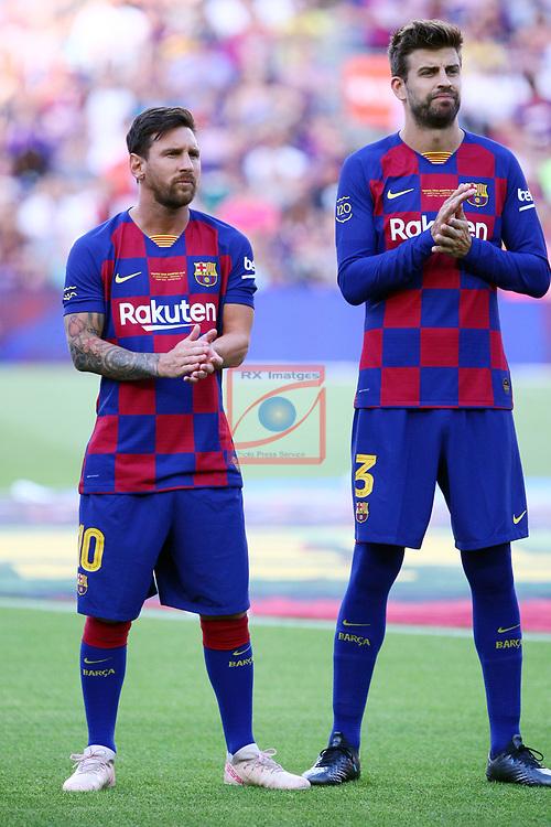 Presentation 1st team FC Barcelona 2019/2020.<br /> Lionel Messi & Gerard Pique.