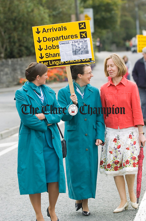 L-R Aileen Jones, Caroline Nolan and Geraldine O'Brien during the Hospital Protest.Pic Arthur Ellis. Hospital protest Ennis.Pic Arthur Ellis.....