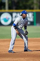 Bluefield Blue Jays third baseman Vladimir Guerrero Jr. (27) on defense against the Burlington Royals at Burlington Athletic Stadium on June 26, 2016 in Burlington, North Carolina.  The Blue Jays defeated the Royals 4-3.  (Brian Westerholt/Four Seam Images)