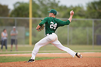 Babson Beavers relief pitcher Hunter Salem (24) during a game against the Edgewood Eagles on March 18, 2019 at Lee County Player Development Complex in Fort Myers, Florida.  Babson defeated Edgewood 23-7.  (Mike Janes/Four Seam Images)