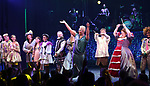 Tom Alan Robbins, Alexandra Socha, Taylor Iman Jones, Jeremy Kushnier, Rachel York, Peppermint, Andrew Durand, Bonnie Milligan and cast during a special curtain call at Broadway's 'Head Over Heels' on July 12, 2018 at the Hudson Theatre in New York City.