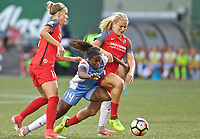 Portland, OR - Saturday August 19, 2017: Nichelle Prince, Dagný Brynjarsdóttir, Lindsey Horan during a regular season National Women's Soccer League (NWSL) match between the Portland Thorns FC and the Houston Dash at Providence Park.