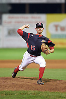 Batavia Muckdogs relief pitcher Josh Alberius (15) delivers a warmup pitch during a game against the Lowell Spinners on July 12, 2017 at Dwyer Stadium in Batavia, New York.  Batavia defeated Lowell 7-2.  (Mike Janes/Four Seam Images)