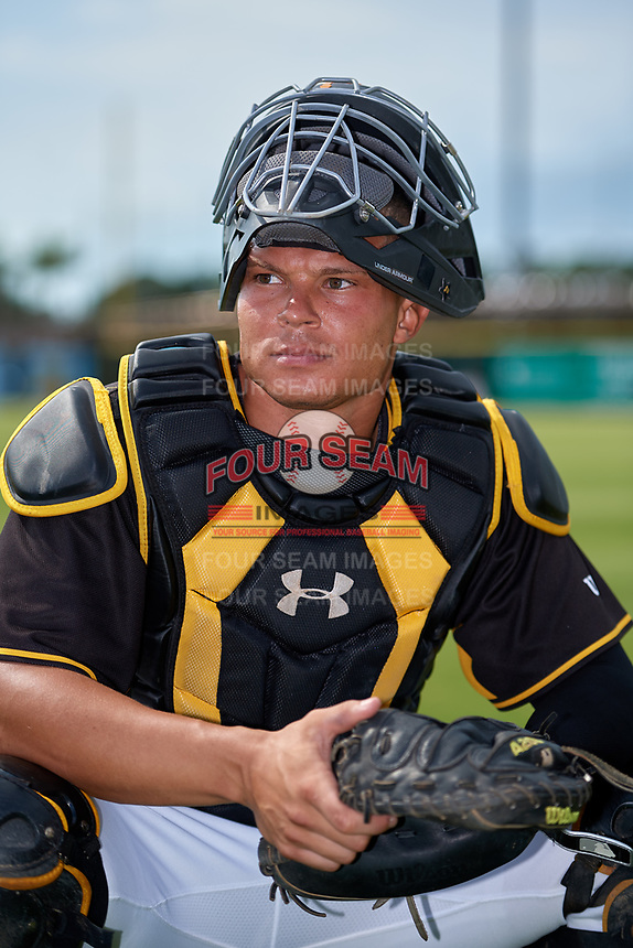 Bradenton Marauders catcher Deon Stafford (37) poses for a photo before a Florida State League game against the Palm Beach Cardinals on May 10, 2019 at LECOM Park in Bradenton, Florida.  Bradenton defeated Palm Beach 5-1.  (Mike Janes/Four Seam Images)
