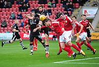 Lincoln City's Ollie Palmer vies for possession with Crewe Alexandra's Conor Grant<br /> <br /> Photographer Andrew Vaughan/CameraSport<br /> <br /> The EFL Sky Bet League Two - Crewe Alexandra v Lincoln City - Saturday 11th November 2017 - Alexandra Stadium - Crewe<br /> <br /> World Copyright &copy; 2017 CameraSport. All rights reserved. 43 Linden Ave. Countesthorpe. Leicester. England. LE8 5PG - Tel: +44 (0) 116 277 4147 - admin@camerasport.com - www.camerasport.com