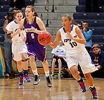 SIOUX FALLS, SD - MARCH 10:  Haley Seibert #10 of IPFW dribbles up the court against Western Illinois during their game at 2013 Summit League Basketball Championships Sunday at the Sioux Falls Arena. (Photo by Dick Carlson/Inertia)