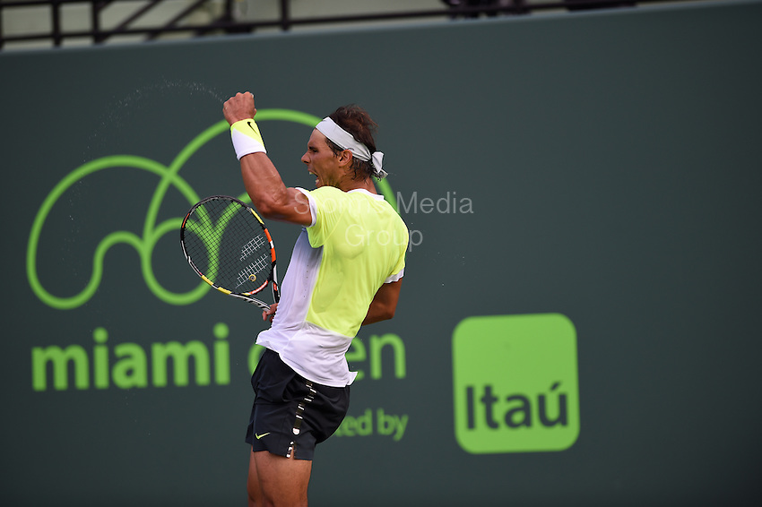 KEY BISCAYNE, FL - MARCH 27: Rafael Nadal of Spain defeats Nicolas Almagro of Spain in their second round match during the Miami Open Presented by Itau at Crandon Park Tennis Center on March 27, 2015 in Key Biscayne, Florida<br /> <br /> <br /> People:  Rafael Nadal<br /> <br /> Transmission Ref:  FLXX<br /> <br /> Must call if interested<br /> Michael Storms<br /> Storms Media Group Inc.<br /> 305-632-3400 - Cell<br /> 305-513-5783 - Fax<br /> MikeStorm@aol.com