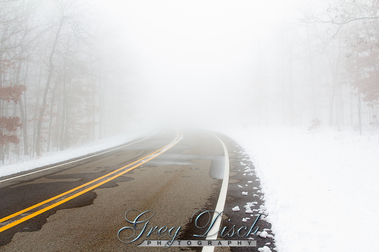 A snowstorm at Mount Magazine State Park in Arkansas. Mount Magazine is the highest point in Arkansas at 2,753 feet above sea level.