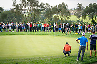 Sergio Garcia (ESP) lines up his putt on the 16th green during Monday's storm delayed Final Round 3 of the Andalucia Valderrama Masters 2018 hosted by the Sergio Foundation, held at Real Golf de Valderrama, Sotogrande, San Roque, Spain. 22nd October 2018.<br /> Picture: Eoin Clarke | Golffile<br /> <br /> <br /> All photos usage must carry mandatory copyright credit (&copy; Golffile | Eoin Clarke)
