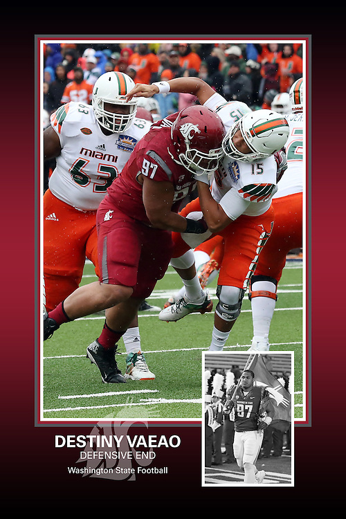 Memorabilia print for Destiny Vaeao from the 2015 Washington State football season in which the Cougs went 9-4, including a Sun Bowl victory over the Miami Hurricanes.