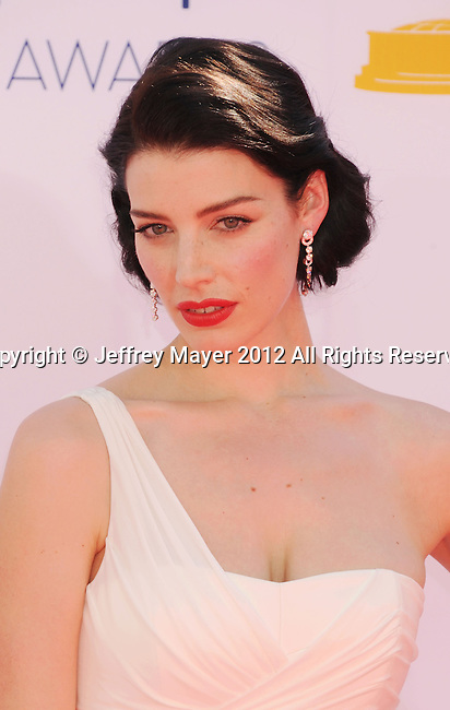 LOS ANGELES, CA - SEPTEMBER 23: Jessica Pare  arrives at the 64th Primetime Emmy Awards at Nokia Theatre L.A. Live on September 23, 2012 in Los Angeles, California.