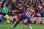 30.01.2016 Camp Nou, Barcelona, Spain. La Liga day 22 match between FC Barcelona and Atletico de Madrid. Luis Suarez take a  shot on goal for score